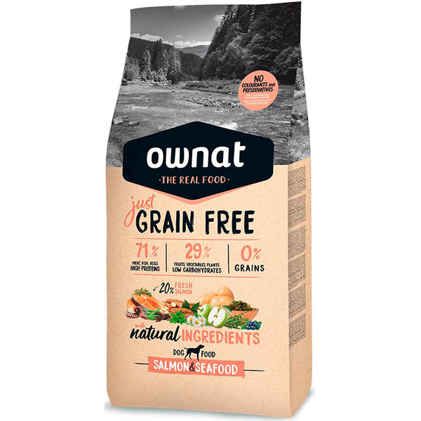 OWNAT Dog JUST GRAIN FREE Salmon&Seafood 14kg