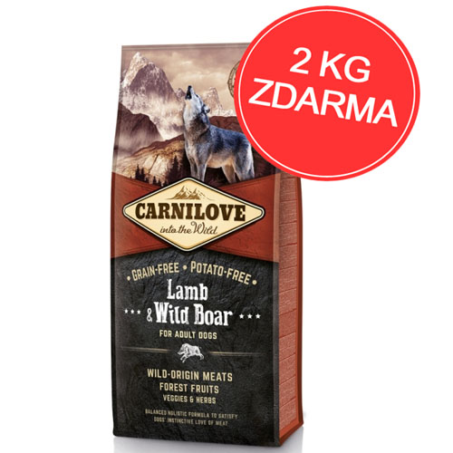 Carnilove Dog Lamb & Wild Boar for Adult 12kg + 2kg ZDARMA
