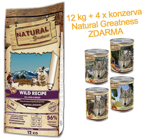 Natural Greatness Wild Recipe All Breed (kachna,krůta,kuře) 12kg + 4x400g ZDARMA