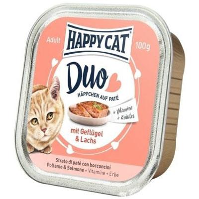 Happy Cat Duo Menu Drůbež & Losos 100 g