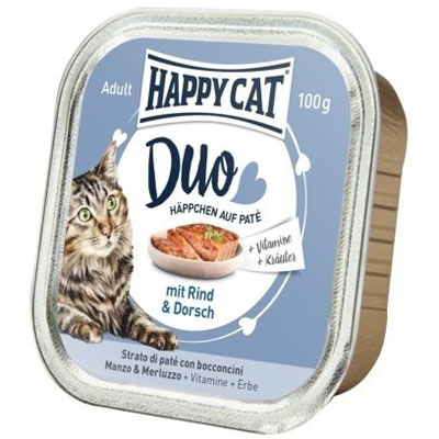 Happy Cat Duo Menu Hovězí & Treska 100 g