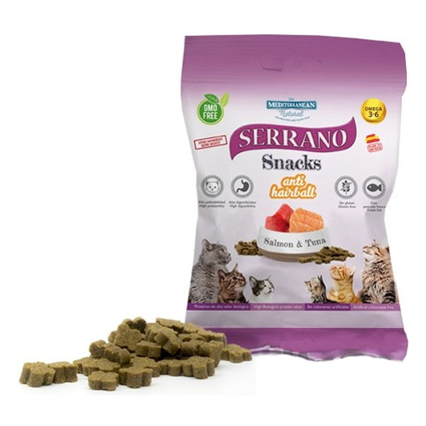 Serrano Snack for Cat AntiHairball Salmon&Tuna 50g