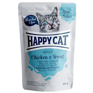 Happy Cat kapsička MEAT IN SAUCE Adult Huhn & Forelle 85g