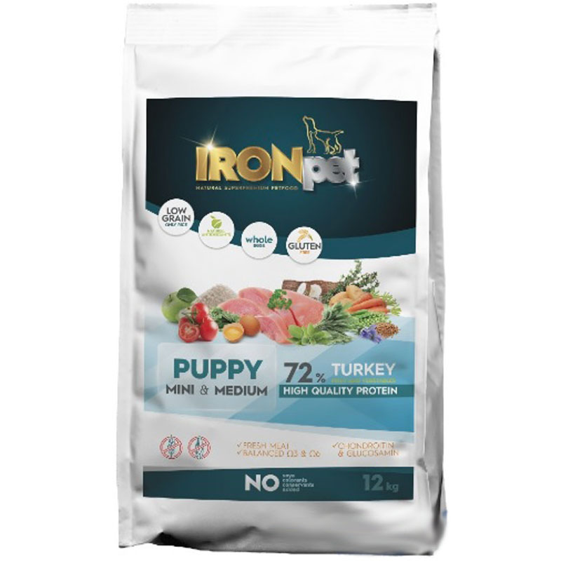 IRONpet TURKEY Puppy Mini & Medium 12 kg