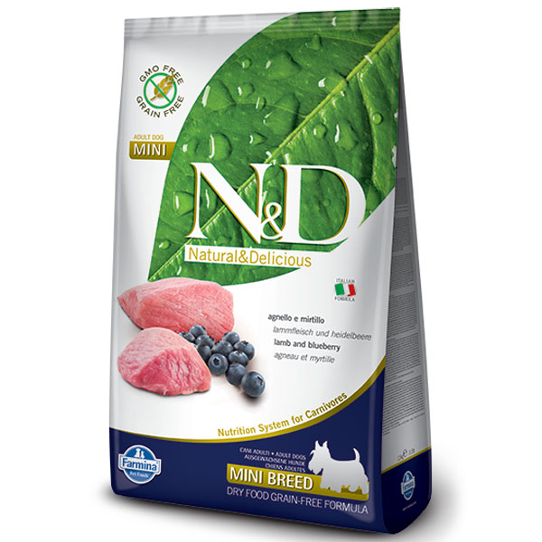 N&D GF Dog Adult Mini Lamb & Blueberry 800g