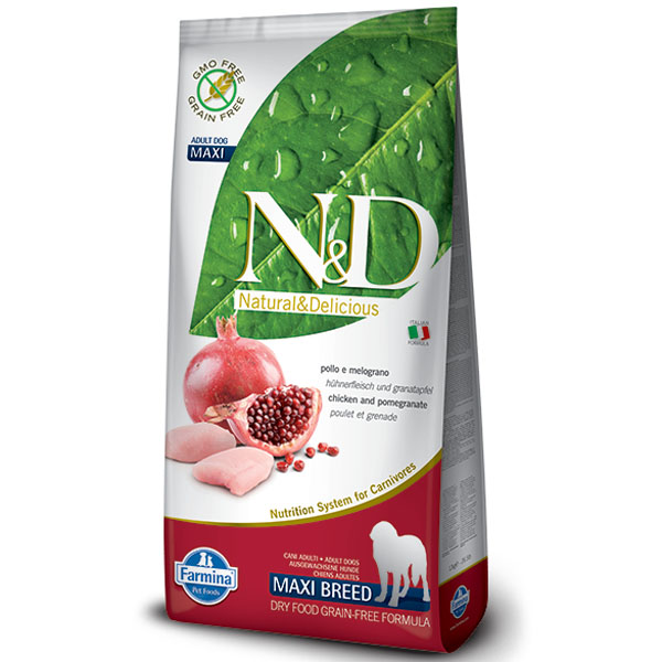 N&D GF Dog Adult Maxi Chicken & Pomegranate 12kg