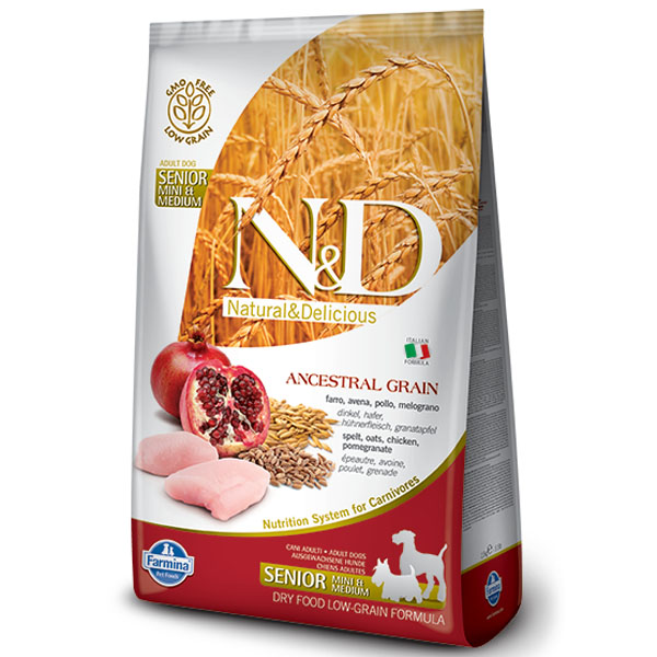 N&D LG Dog Senior S/M Chicken & Pomegranate 800g