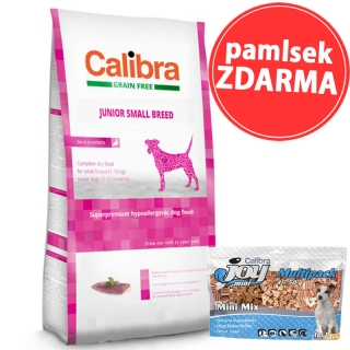 Calibra Dog GF Junior Small Breed Duck 7kg + pamlsek ZDARMA