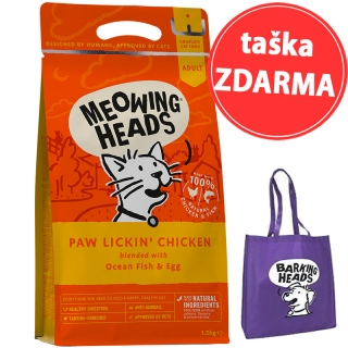 MEOWING HEADS Paw Lickin' Chicken 1,5kg + taška ZDARMA