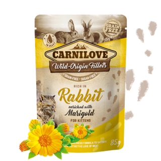 Carnilove Cat Pouch Kitten Rabbit Enriched & Marigold 85 g